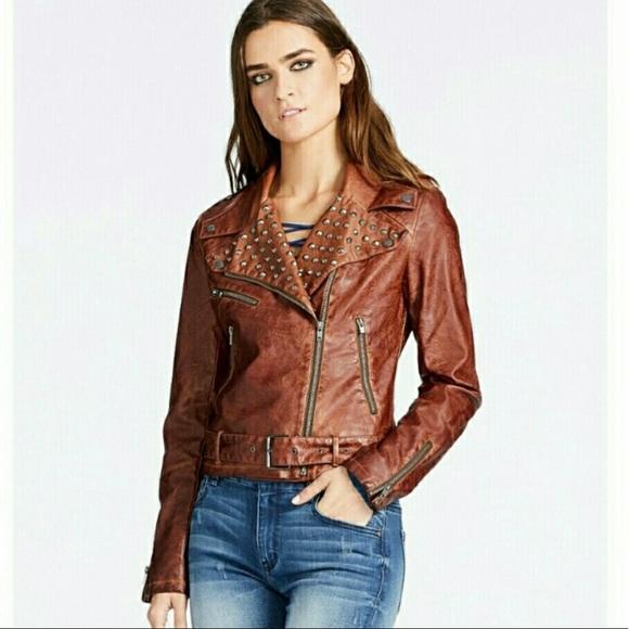 e3101118e William Rast Leather Timberlake studded jacket